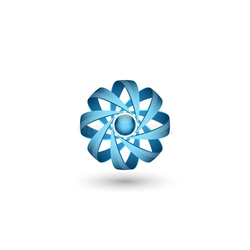 Concetto atomico fisico dell'estratto di logo della particella 3D, icona della molecola del volume per energia nucleare royalty illustrazione gratis