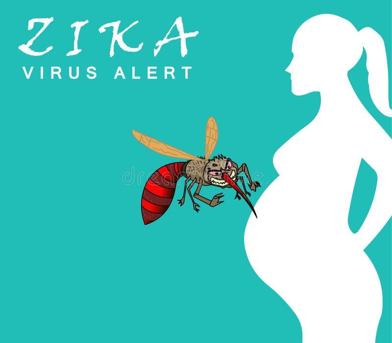 Concetto attento di scoppio e di viaggio del virus di Zika trasmesso dalla zanzara e da è collegato per causare la microcefalia s illustrazione vettoriale