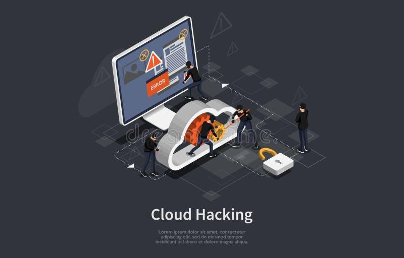 Concetto attività hacker isometrica Modello infografico con server di computer cloud che attaccano il ladro di ciberneti online V illustrazione vettoriale