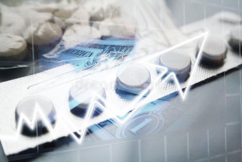 Concetto aumentante di copertura di sanità con aumentare di costi del farmaco di prescrizione immagini stock