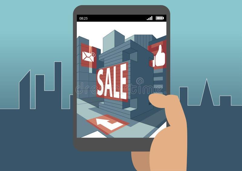 Concetto aumentato di realtà come esempio per realtà virtuale e l'affare mobile e digitale royalty illustrazione gratis