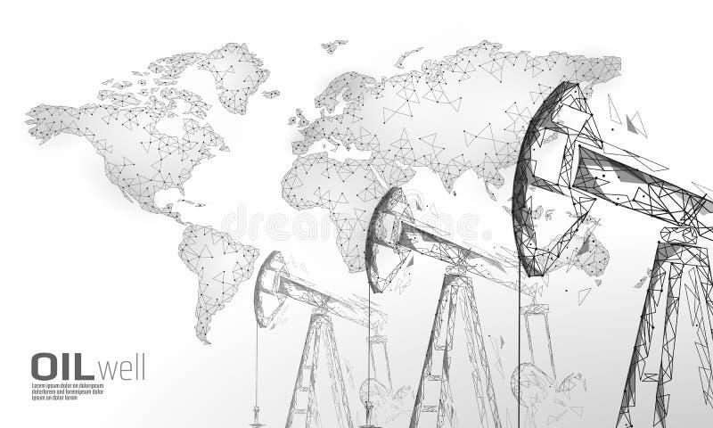 Concetto basso di affari del juck dell'impianto di perforazione del pozzo di petrolio poli Produzione poligonale della benzina di illustrazione vettoriale