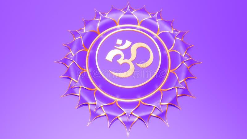 Concetto bianco di simbolo di Sahasrara di chakra della corona di Hinduismo, buddismo, Ayurveda risveglio spirituale e coscienza  illustrazione vettoriale