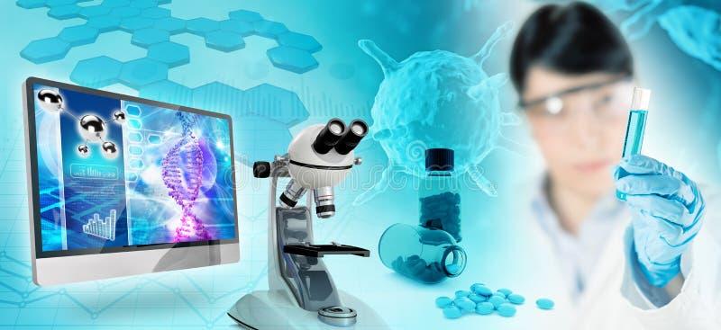 Concetto biomedico di ricerca illustrazione di stock