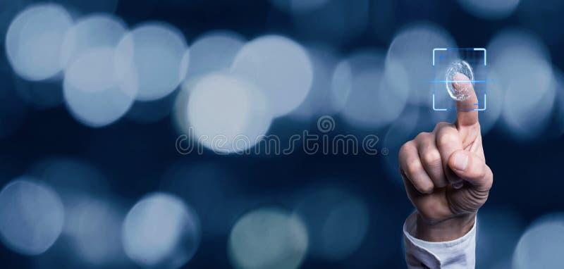 Concetto biometrico dell'identificazione con le impronte digitali fotografie stock