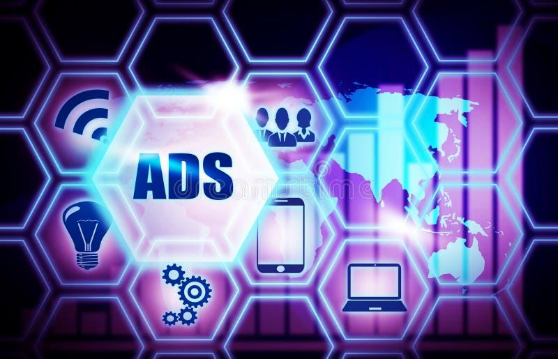 Concetto blu del modello del fondo di ADS illustrazione di stock