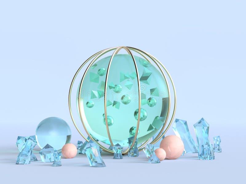 concetto blu dell'estratto di inverno del fondo della chiara sfera di verde della rappresentazione 3d illustrazione di stock