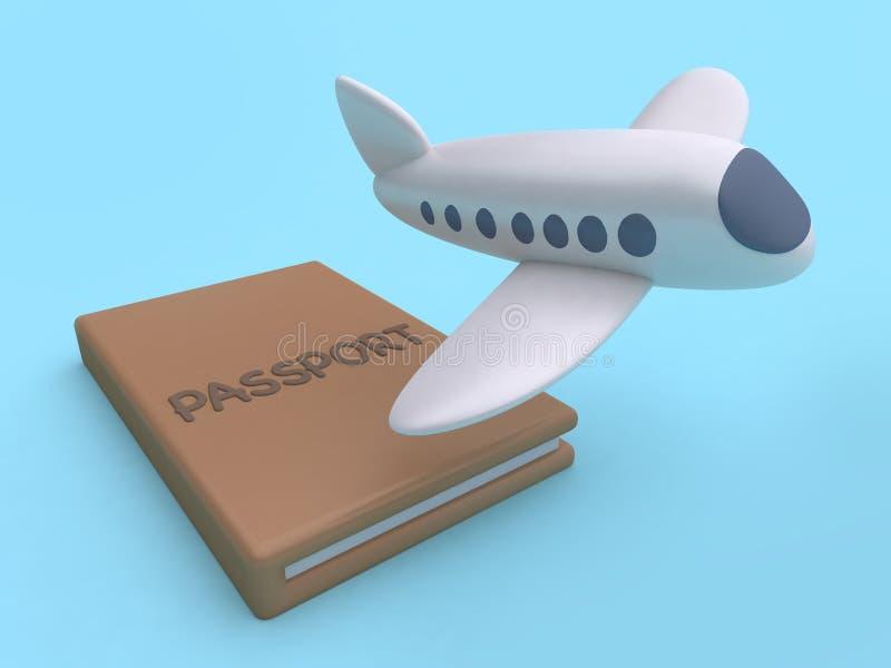 Concetto blu di andare-viaggio della rappresentazione del fondo 3d di stile minimo del fumetto di volo dell'aereo del passaporto  illustrazione vettoriale