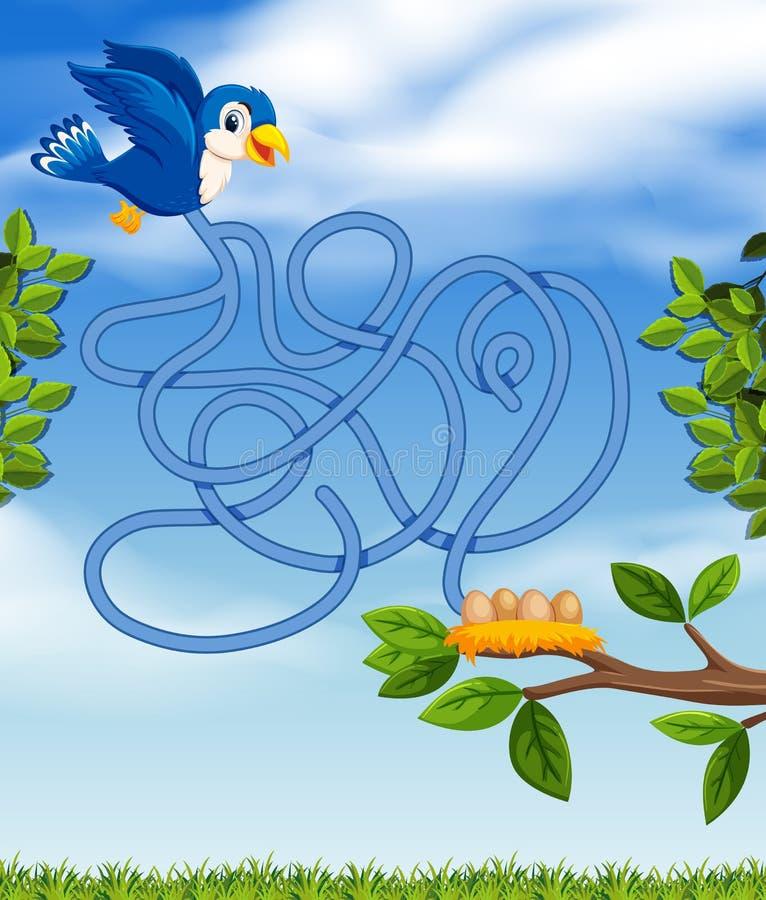 Concetto blu di puzzle dell'uccello illustrazione di stock