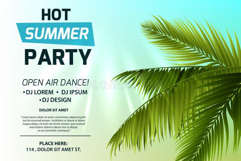 Concetto caldo dell'invito del partito di estate Testo su fondo leggero Foglie di palma e raggi verdi del sole Modello variopinto illustrazione di stock
