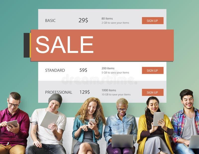 Concetto caldo di affare di sconto di prezzi di vendita di commercio elettronico immagini stock