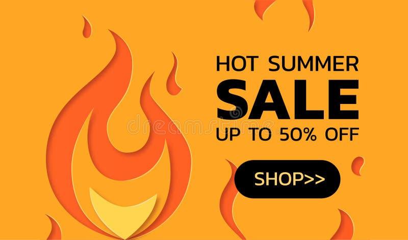 Concetto caldo di vendita di estate nello stile tagliato di carta royalty illustrazione gratis