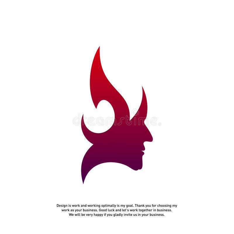 Concetto capo di logo del fuoco, logo del fuoco di mente, logo di mindset di spirito, logo capo della fiamma - vettore illustrazione di stock