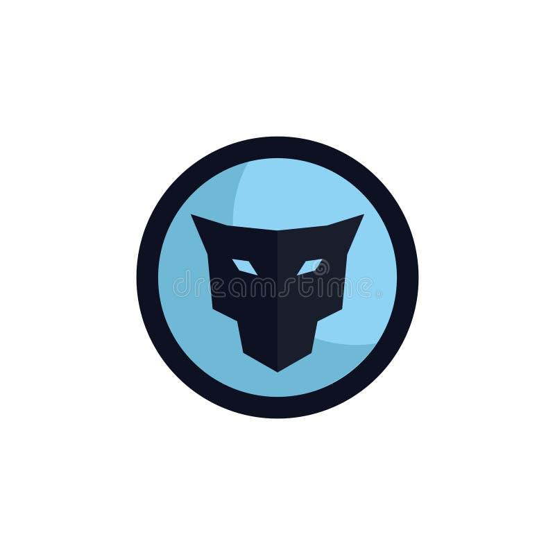 Concetto capo di logo dell'emblema del giaguaro illustrazione di stock