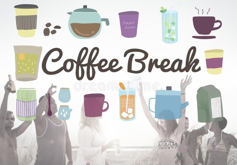 Concetto casuale di rilassamento di pausa della bevanda della pausa caffè fotografia stock libera da diritti