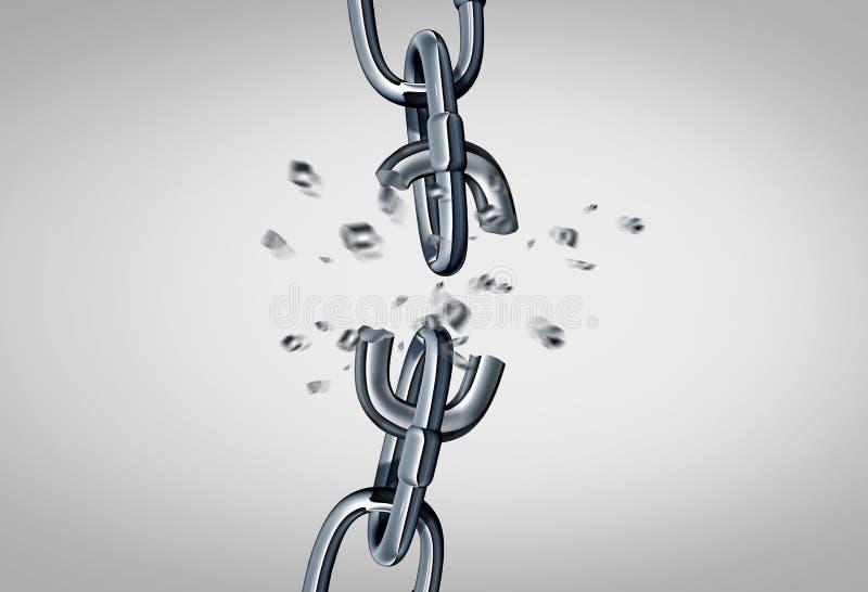 Concetto a catena rotto illustrazione vettoriale