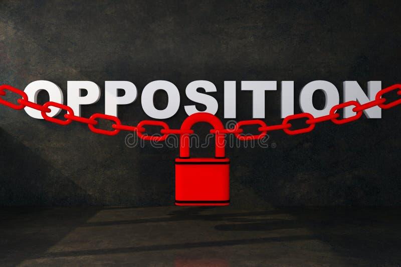 Concetto che illustra blocchetto di opposizione illustrazione di stock