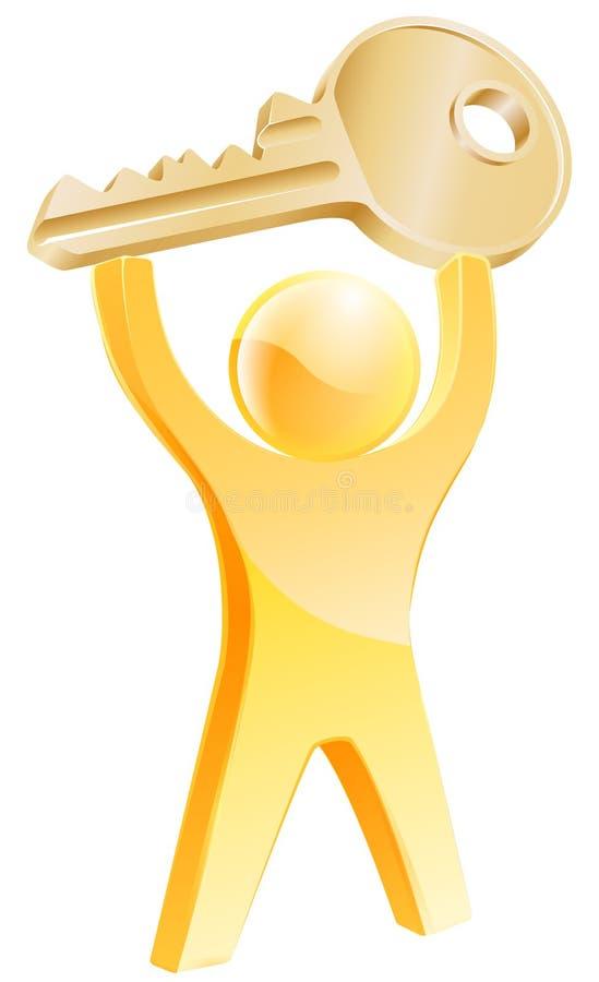 Concetto chiave della persona dell'oro illustrazione di stock