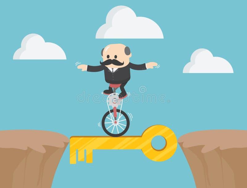 Concetto chiave della singola bicicletta della ruota di correre della gente Sym di affari royalty illustrazione gratis