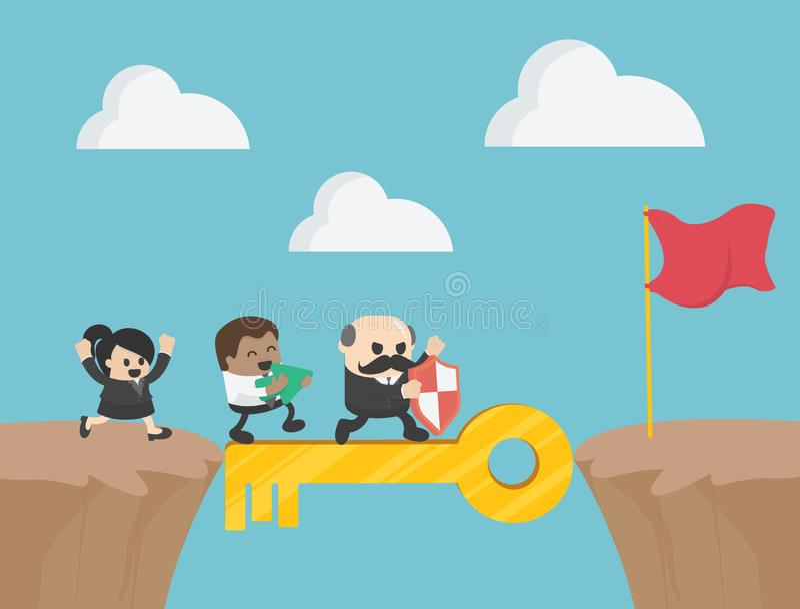 Concetto chiave di successo di affari come gruppo di persone dirigersi Busine illustrazione di stock