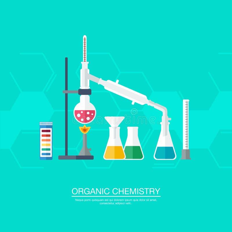 Concetto chimico Chimica organica Sintesi delle sostanze Confine degli anelli benzenici Progettazione piana illustrazione di stock