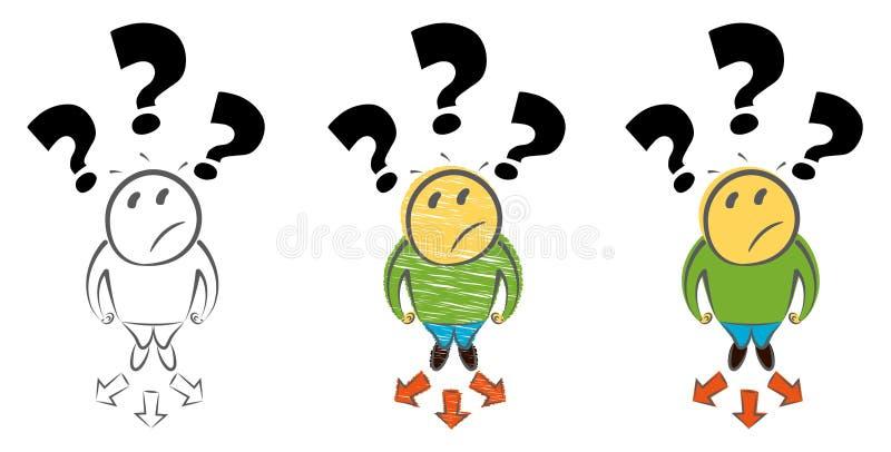 Concetto Choice di modo Punto di vista superiore dell'uomo Metafora di affari di decisione Illustrazione disegnata a mano di vett royalty illustrazione gratis