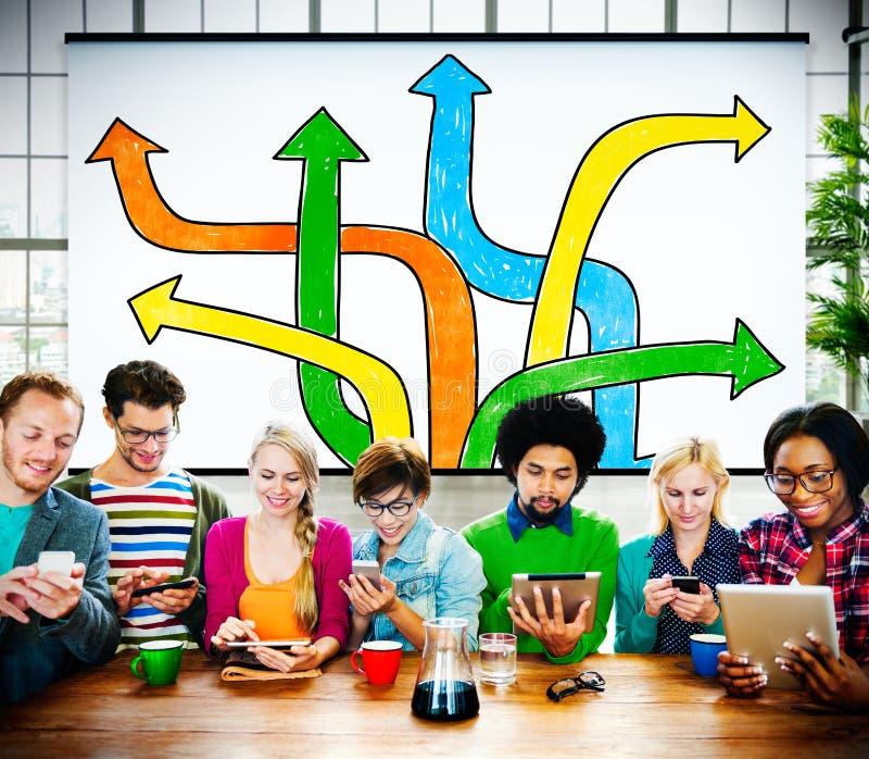 Concetto Choice di processo decisionale del cambiamento del cambiamento di direzioni immagini stock libere da diritti