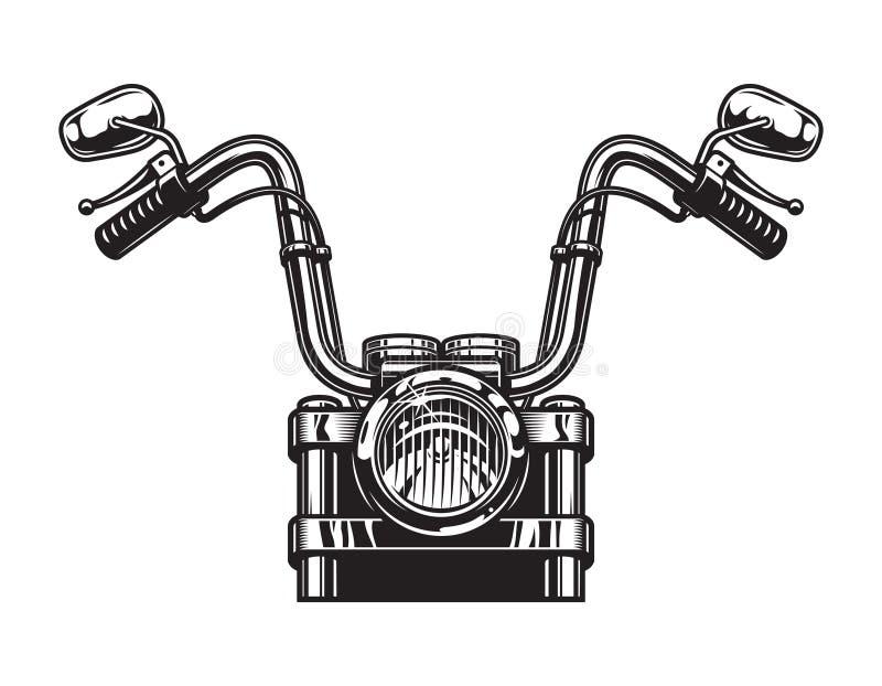 Concetto classico monocromatico di vista frontale del motociclo illustrazione di stock