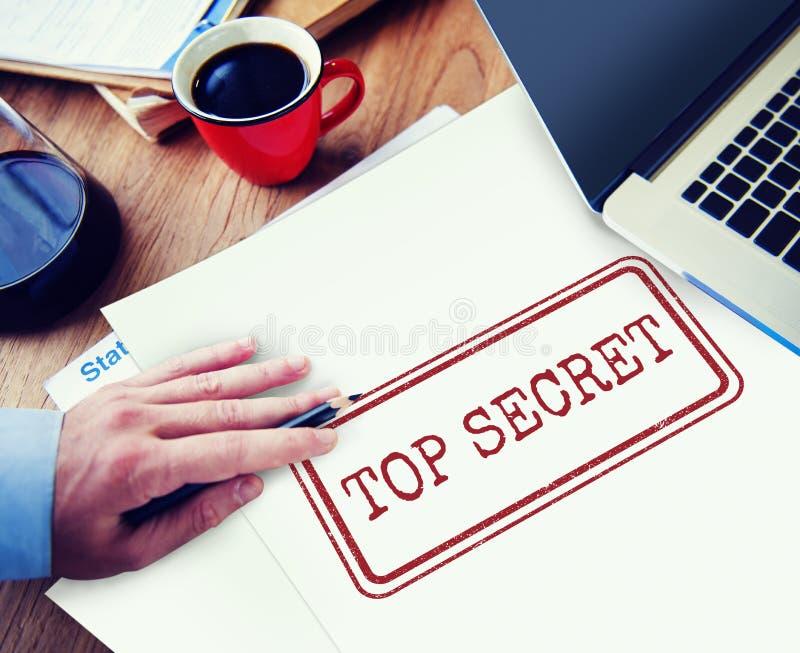 Concetto classificato confidenziale del bollo di segretezza top-secret fotografie stock libere da diritti