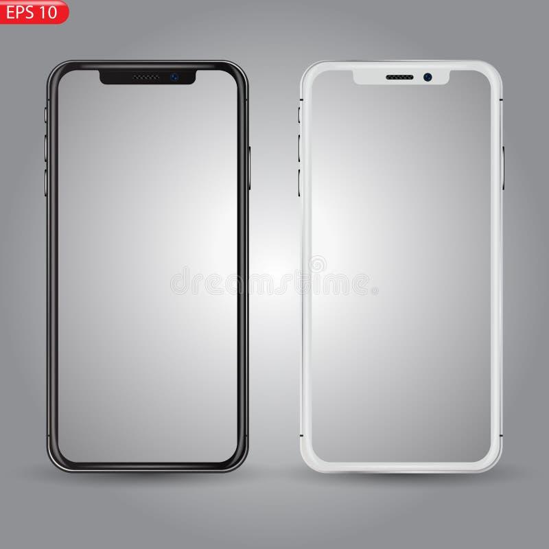 Concetto colorato dei telefoni moderni con gli schermi vuoti, i modelli mobili bianchi e neri realistici su fondo trasparente illustrazione vettoriale