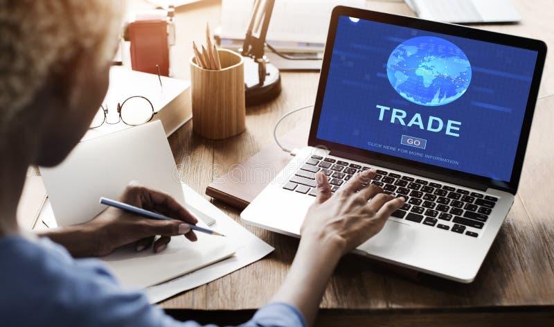Concetto commerciale delle mercanzie di scambio di commercio di baratto fotografia stock
