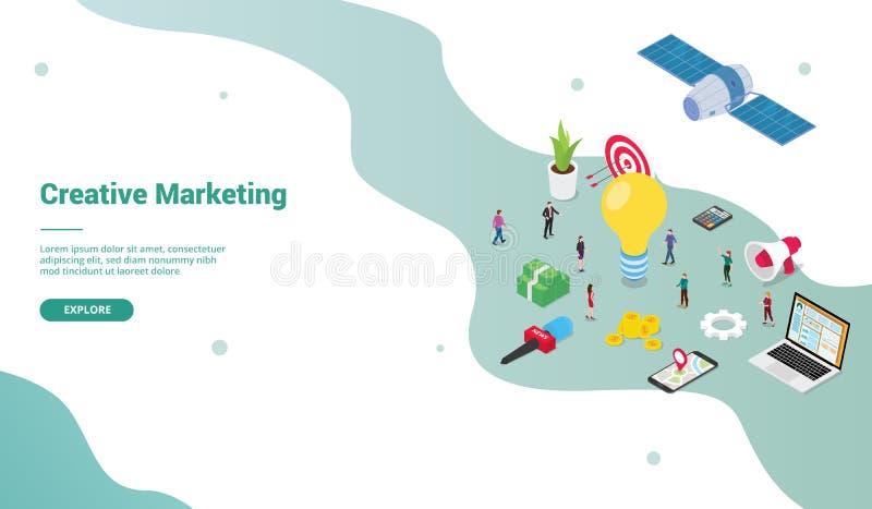 Concetto commercializzante creativo di affari della gente del gruppo con le grandi idee per il modello del sito Web o il homepage illustrazione di stock