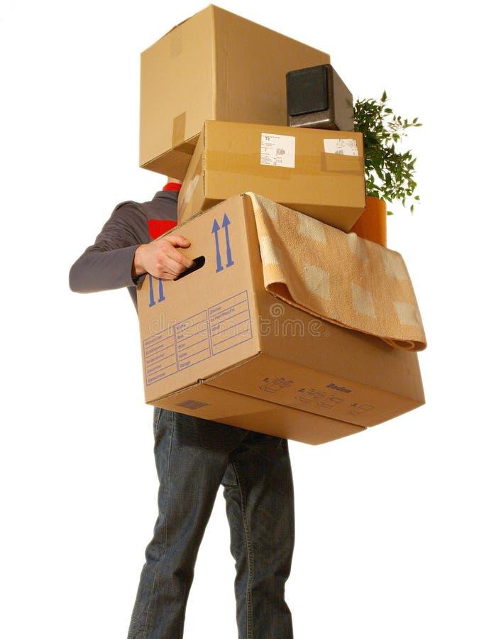 Concetto commovente - uomo che tiene le scatole fotografia stock