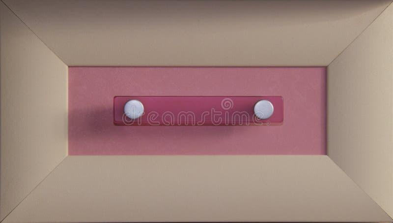 Concetto confortevolmente ammobiliato Parte anteriore del cassetto vuoto dell'armadietto di legno con il tono beige e rosa fotografie stock libere da diritti