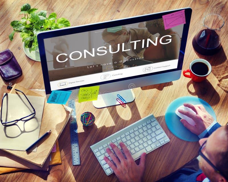 Concetto consultivo consultantesi di orientamento di suggerimento di assistenza immagini stock libere da diritti