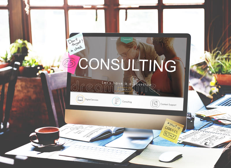 Concetto consultivo consultantesi di orientamento di suggerimento di assistenza fotografia stock