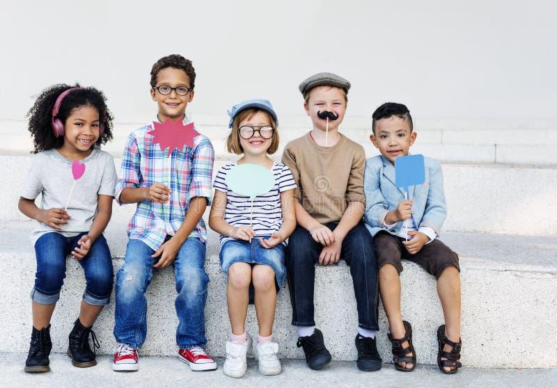 Concetto coraggioso di successo di attività di aspirazione del bambino dei bambini fotografia stock libera da diritti