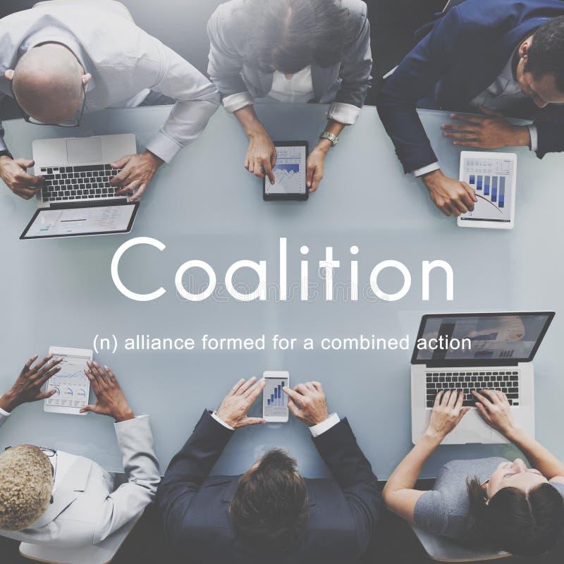 Concetto corporativo del sindacato di Alliance di associazione di coalizione immagini stock