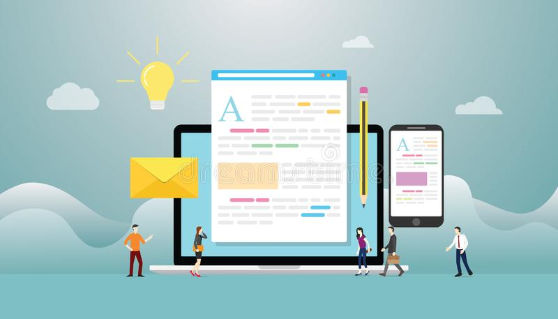 Concetto creativo del blog o di blogging con il computer portatile e sviluppo contento con la gente del gruppo con stile piano mo royalty illustrazione gratis
