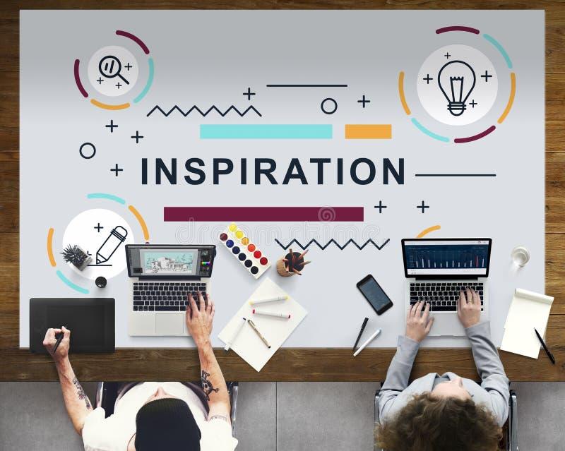 Concetto creativo del grafico dell'innovazione di motivazione di ispirazione immagini stock libere da diritti