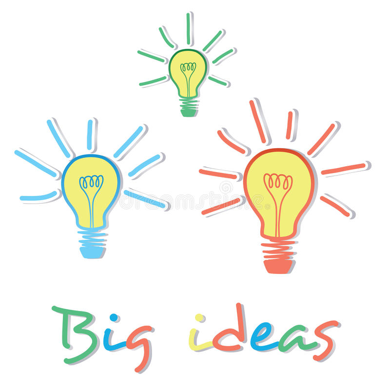 Concetto creativo della lampadina di grandi idee illustrazione vettoriale
