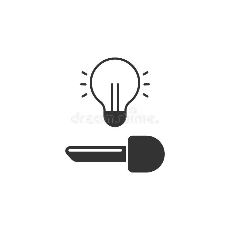 Concetto creativo di idea della lampadina con il simbolo del lucchetto Chiave dell'idea Idee di affari Illustrazione di vettore illustrazione vettoriale