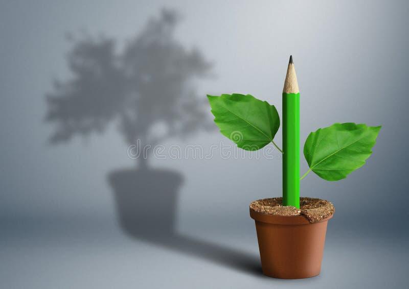 Concetto creativo di nuova idea, matita verde che cresce dal vaso fotografia stock