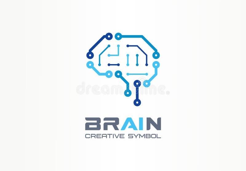 Concetto creativo di simbolo del cervello di AI Chip astuto, rete neurale, logo di affari dell'estratto del circuito del robot Ci illustrazione di stock