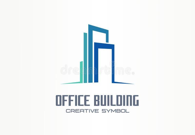 Concetto creativo di simbolo dell'edificio per uffici Centro di finanza, città della città, logo astratto di affari dell'orizzont illustrazione vettoriale