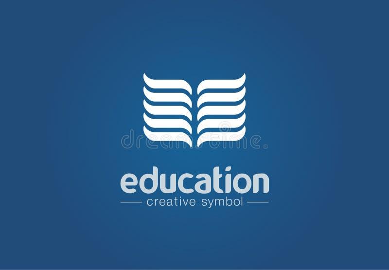 Concetto creativo di simbolo di istruzione Lettura del libro, di nuovo alla scuola, conoscenza, logo di affari dell'estratto del  illustrazione di stock