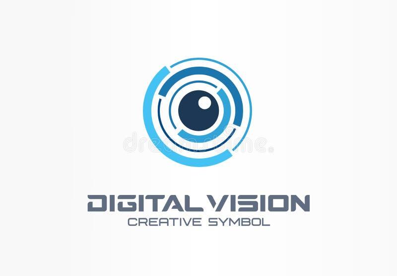 Concetto creativo di simbolo di visione di Digital Ricerca dell'iride dell'occhio, logo di affari dell'estratto del sistema del v illustrazione vettoriale