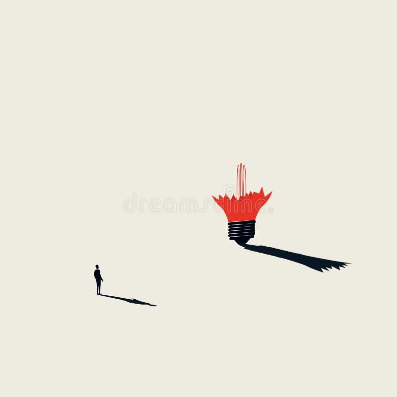 Concetto creativo di vettore del blocchetto di affari con l'uomo d'affari e la lampadina rotta Stile artistico minimalista Simbol royalty illustrazione gratis