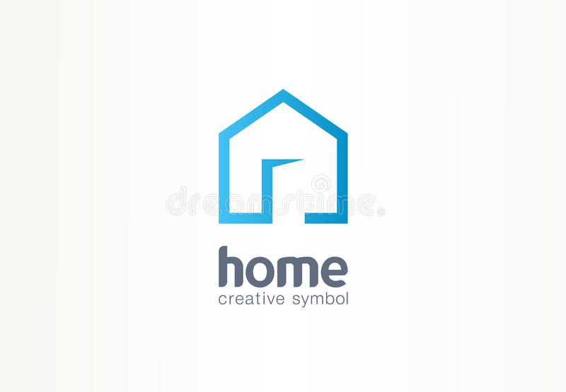 Concetto creativo domestico di simbolo La porta aperta, costruzione entra, logo di affari dell'estratto dell'agenzia immobiliare  illustrazione vettoriale