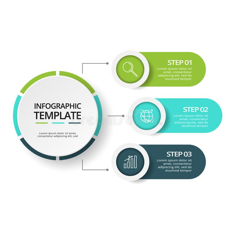Concetto creativo per infographic con 3 punti, opzioni, parti o processi Visualizzazione di dati di gestione illustrazione vettoriale